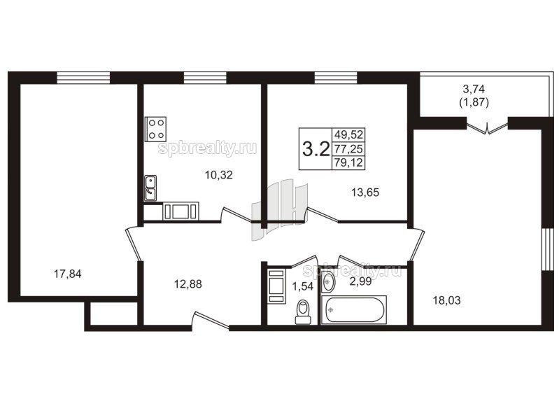 Планировка Трёхкомнатная квартира площадью 79.2 кв.м в ЖК «Янила Кантри»