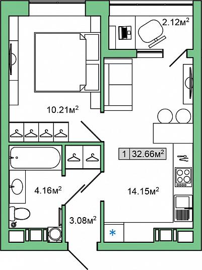 Планировка Однокомнатная квартира площадью 32.66 кв.м в ЖК «ЯНИЛА КАНТРИ»