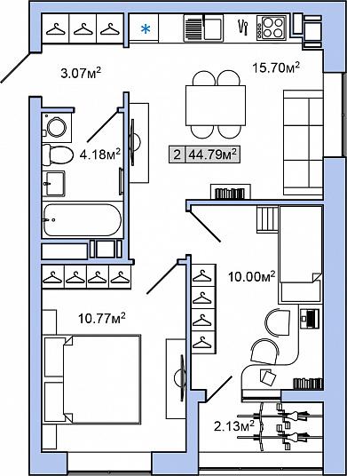 Планировка Двухкомнатная квартира площадью 44.79 кв.м в ЖК «ЯНИЛА КАНТРИ»