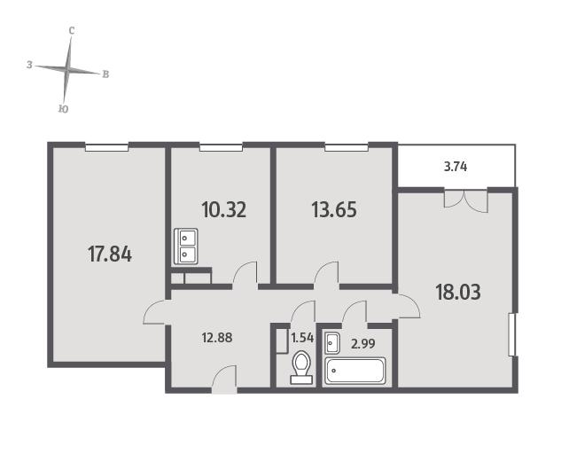 Планировка Трёхкомнатная квартира площадью 79.12 кв.м в ЖК «ЯНИЛА КАНТРИ»