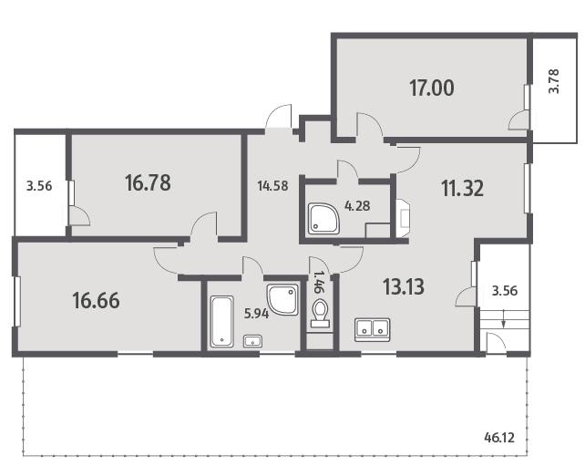 Планировка Четырёхкомнатная квартира площадью 120.85 кв.м в ЖК «ЯНИЛА КАНТРИ»