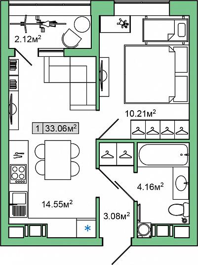 Планировка Однокомнатная квартира площадью 33.06 кв.м в ЖК «ЯНИЛА КАНТРИ»