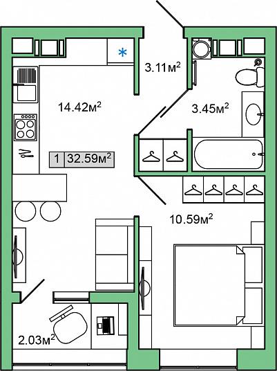Планировка Однокомнатная квартира площадью 32.59 кв.м в ЖК «ЯНИЛА КАНТРИ»
