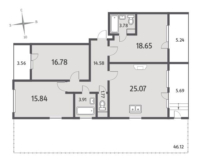 Планировка Трёхкомнатная квартира площадью 116.75 кв.м в ЖК «ЯНИЛА КАНТРИ»
