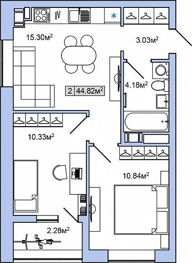 Планировка Двухкомнатная квартира площадью 44.82 кв.м в ЖК «ЯНИЛА КАНТРИ»