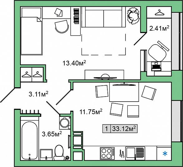 Планировка Однокомнатная квартира площадью 33.12 кв.м в ЖК «ЯНИЛА КАНТРИ»