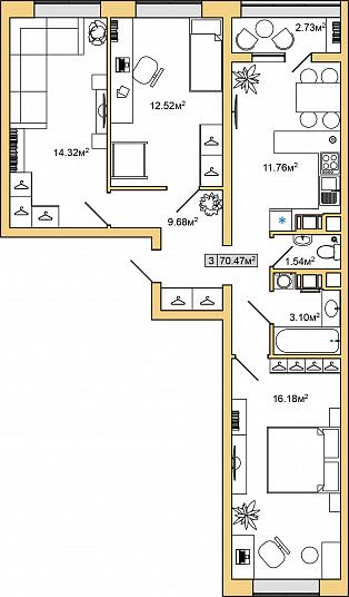 Планировка Трёхкомнатная квартира площадью 70.47 кв.м в ЖК «ЯНИЛА КАНТРИ»