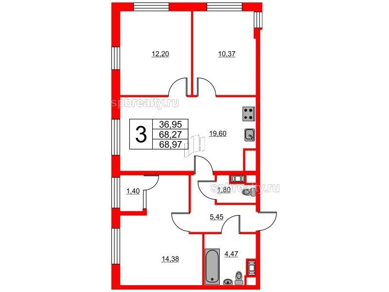 Планировка Трёхкомнатная квартира площадью 68.97 кв.м в ЖК «Янила Кантри»