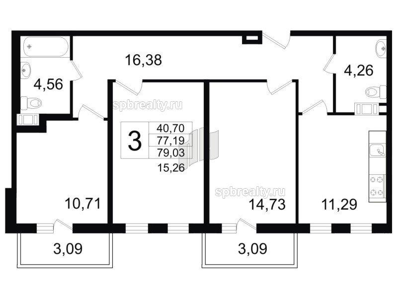 Планировка Трёхкомнатная квартира площадью 79.4 кв.м в ЖК «Янила Кантри»